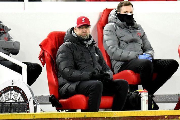 Jürgen Klopp situr úrræðalaus á bekknum eftir þegar ekkert gekk í sóknarleik Liverpool fjórða leikinn í röð