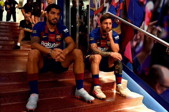 Vinirnir Luis Suarez og Lionel Messi.