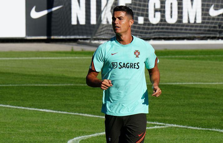 Cristiano Ronaldo á æfingu með portúgalska landsliðinu.