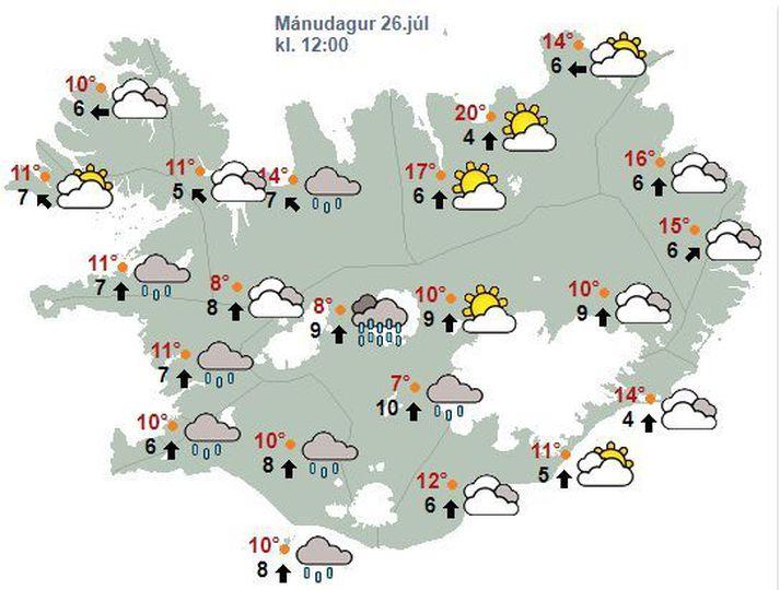 Veður verður best á Norðausturlandi í dag.