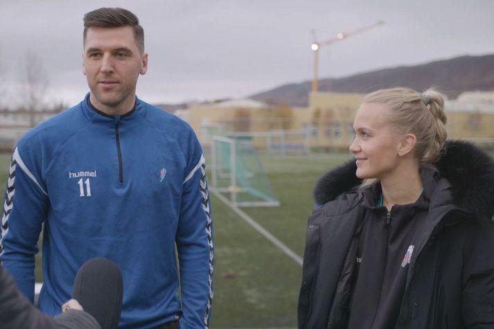 Ólafur Gústafsson og Rut Jónsdóttir ræða hér málin við Seinni bylgjuna.