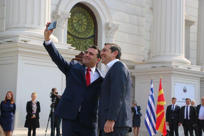 Forsætisráðherrarnir Zoran Zaev og Alexis Tsipras.