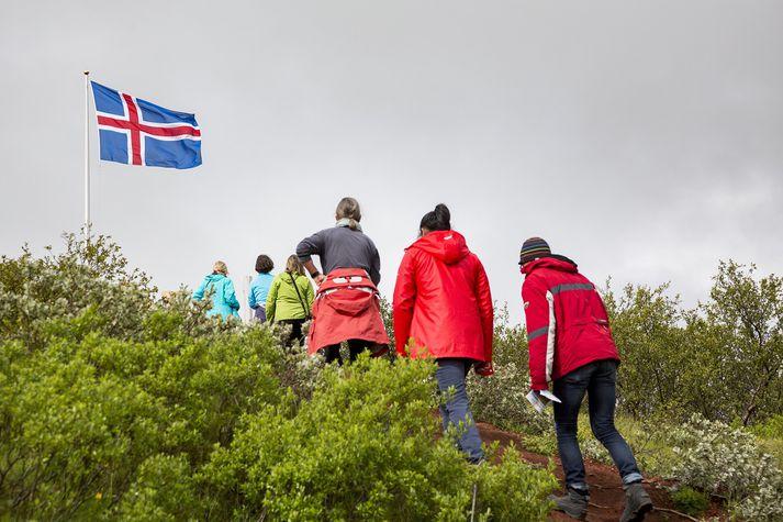 Ekki er vitað hvort þessir ferðamenn sem Vísir rakst á við Kerið á dögunum séu marktækt óánægðari en þeir voru fyrir ári.
