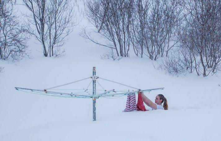 Myndin er tekin á heimili hennar á Ísafirði þar sem hún hefur búið í tvö ár.