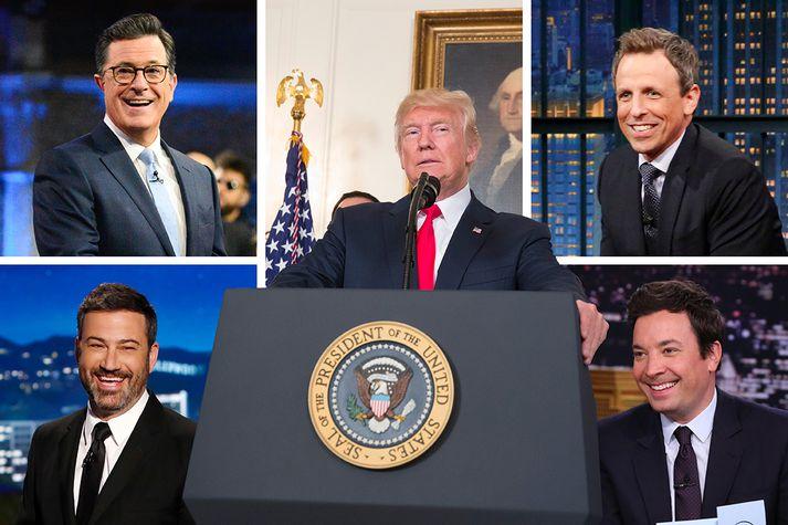 Seth Meyers, Stephen Colbert, Donald Trump, Jimmy Kimmel og Jimmy Fallon.