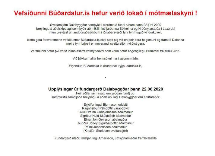 Vefsíðunni budardalur.is hefur verið lokað í mótmælaskyni.