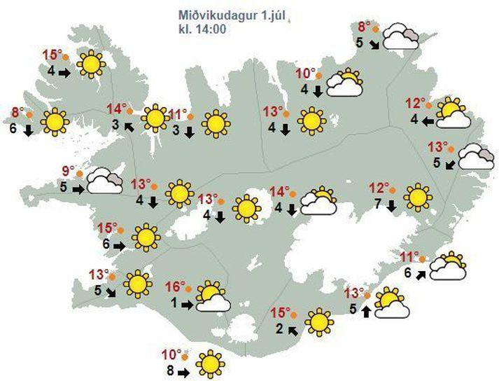 Spákortið fyrir klukkan 14 eins og það leit út í morgunsárið.