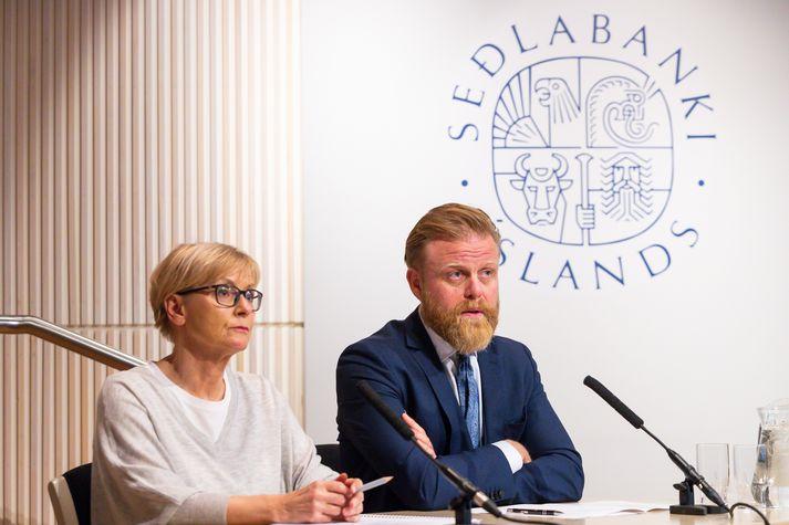 Ásgeir Jónsson, seðlabankastjóri og formaður peningastefnunefndar, og Rannveig Sigurðardóttir, varaseðlabankastjóri peningastefnu og varaformaður.