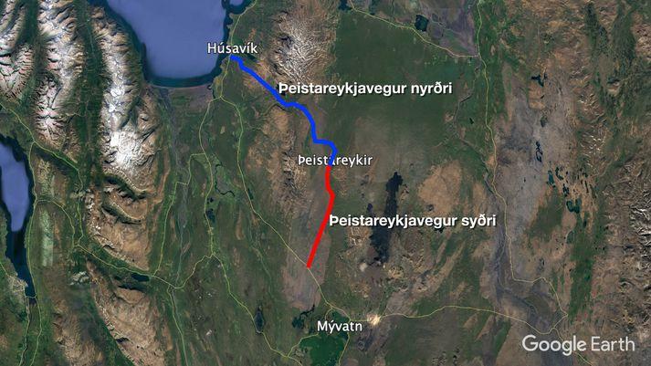 Þeistareykjavegur, milli Húsavíkur og gatnamóta á Hólasandi, verður alls 47 kílómetra langur.