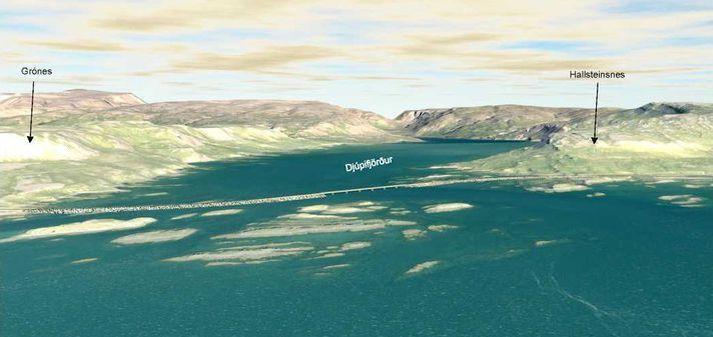 Veglína yfir Djúpafjörð, milli Gróness og Hallsteinsness, sýnd með einni brú. Núna er ákveðið að þarna verði tvær brýr.