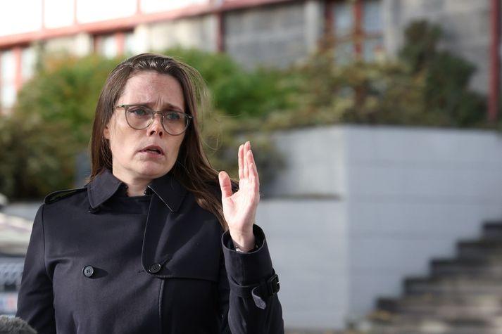 Katrín Jakobsdóttir, forsætisráðherra, á blaðamannafundinum.
