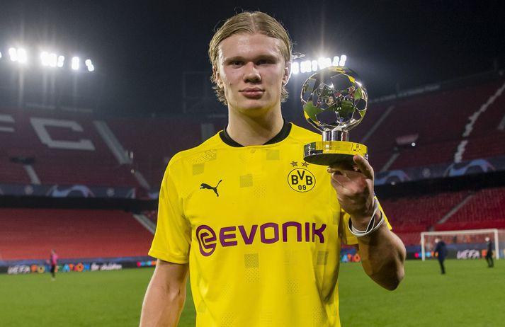 Erling Haaland var valinn maður leiksins þegar Borussia Dortmund vann Sevilla, 2-3, í gær.