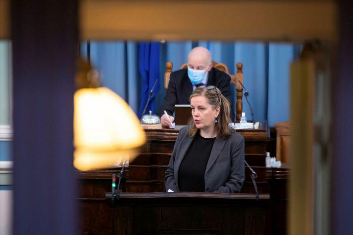 Svandís Svavarsdóttir heilbrigðisráðherra á Alþingi í dag.