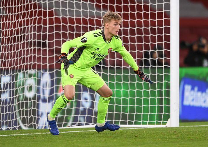 Rúnar Alex Rúnarsson hélt markinu hreinu í frumraun sinni fyrir Arsenal.