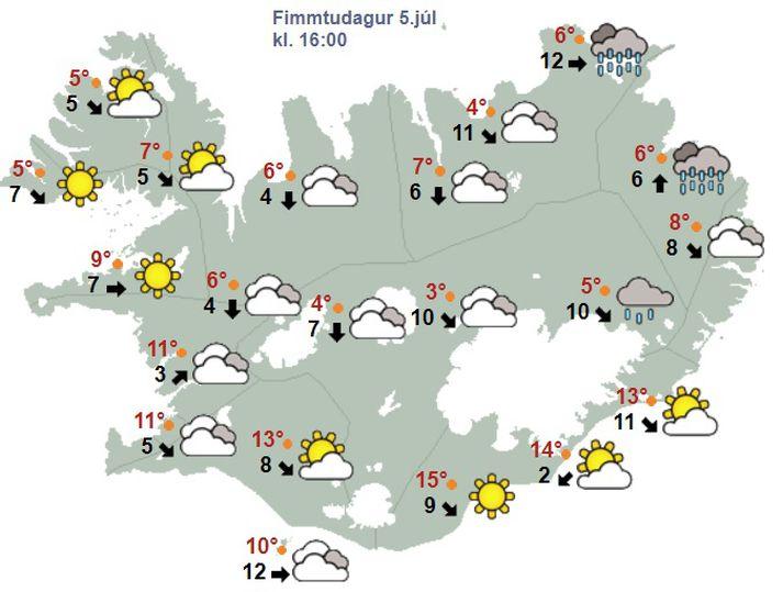 Klukkan fjögur í dag er gert ráð fyrir ellefu stiga hita, skýjuðu veðri og fimm metrum á sekúndu.