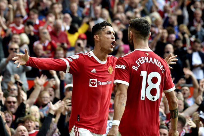 Cristiano Ronaldo fagnar marki fyrir Manchester United á móti Newcastle United um helgina.