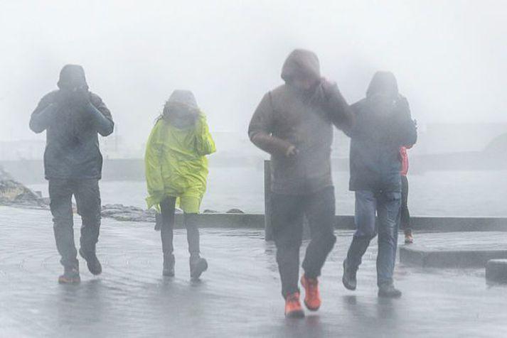 Lausamunir geta fokið og tafir orðið á umferð vegna fárviðris á sunnudag. Gott er að huga vel að niðurföllum.