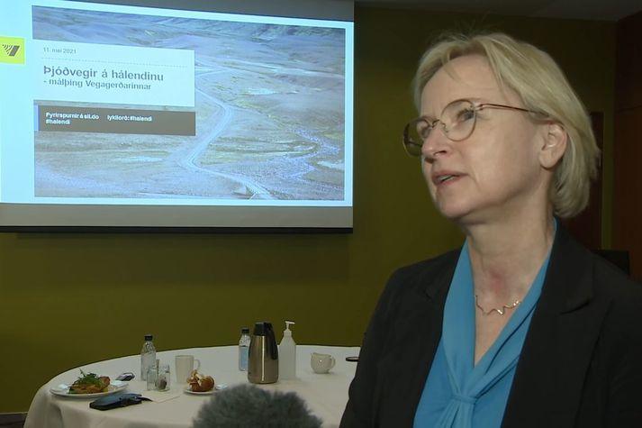 Bergþóra Þorkelsdóttir vegamálastjóri á málþingi Vegagerðarinnar um þjóðvegi á hálendinu.