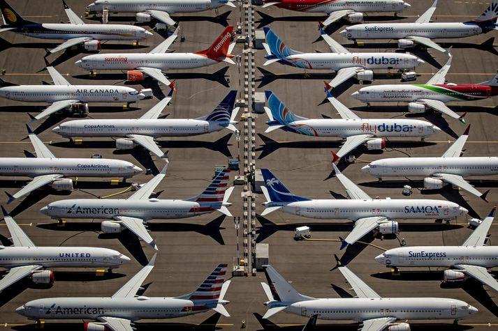 Kyrrsettar Boeing 737 Max vélar.
