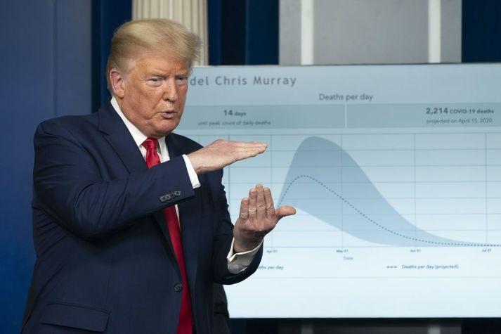 Donald Trump Bandaríkjaforseti ræddi við blaðamenn í gær.