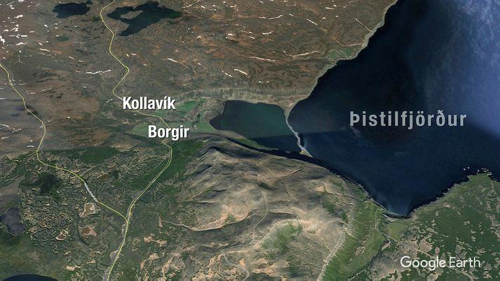Bæirnir Kollavík og Borgir eru við Kollavíkurvatn.