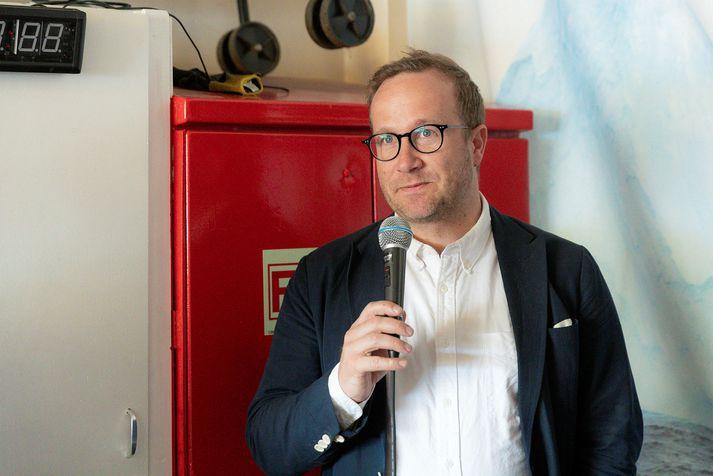 Andri Snær Magnason rithöfundur kemur fram á fundinum.