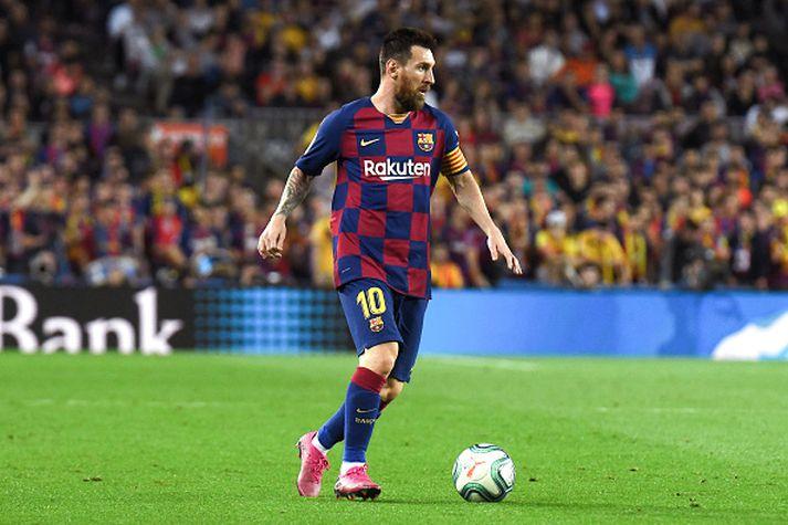 Messi í leiknum gegn Sevilla um helgina þar sem hann skoraði frábært mark.