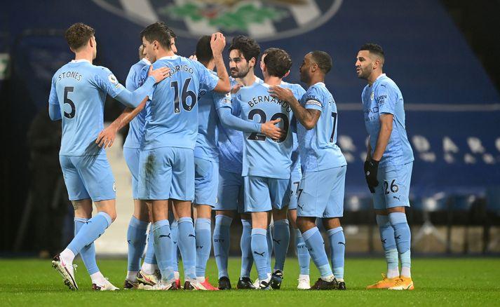 Manchester City lék sér að West Bromwich Albion í kvöld.