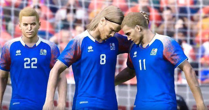 Svona líta Íslendingarnir út í PES-leiknum en í dag verður spilað í FIFA.