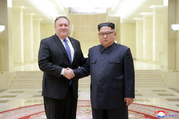 Mike Pompeo og Kim Jong-un.
