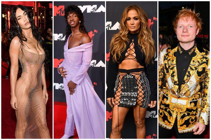 Megan Fox, Lil Nas X, Jennifer Lopez og Ed Sheeran voru á meðan þeirra sem vöktu athygli á rauða dreglinum í nótt.