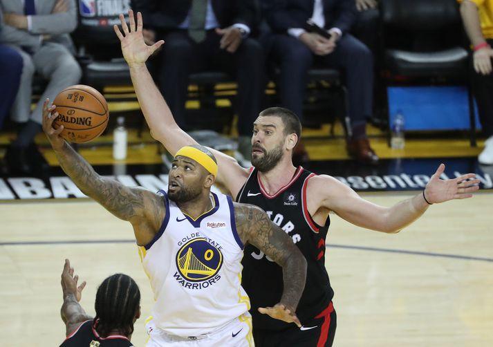 DeMarcus Cousins lék með Golden State Warriors í úrslitum NBA-deildarinnar á síðasta tímabili. Cousins og félagar töpuðu þá, 4-2, fyrir Toronto Raptors.