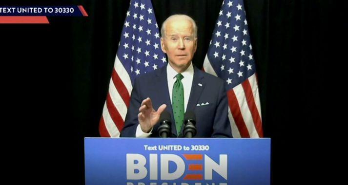 Joe Biden ávarpaði Demókrata frá heimili sínu í Wilmington.