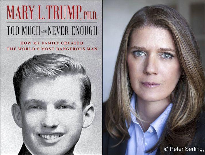 Mary Trump, bróðurdóttir Bandaríkjaforseta (t.h.). Bók hennar um Trump fjölskylduna (t.v.) á að koma út í næstu viku.