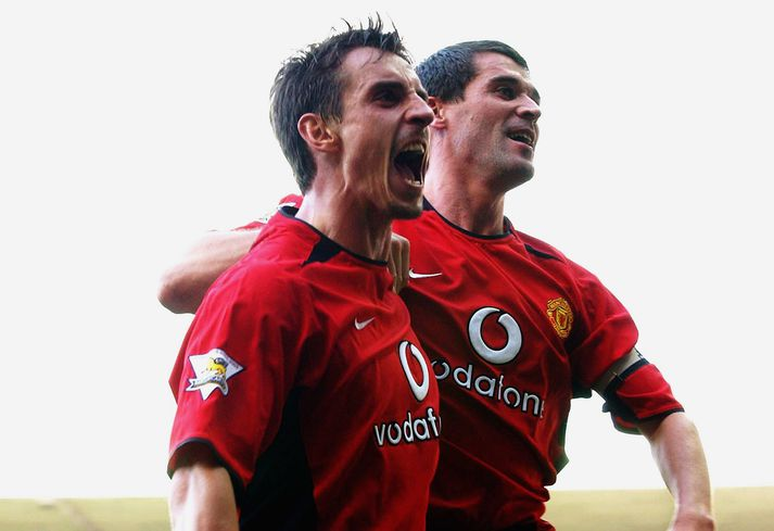 Gary Neville og Roy Keane á góðri stundi. Írinn er á blaði sem bestu fimm kaup Man United að mati Neville.