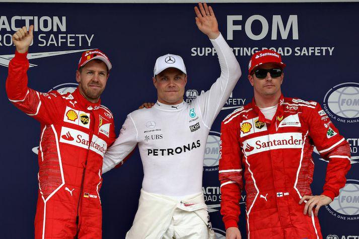Sebastian Vettel, Valtteri Bottas og Kimi Raikkonen voru þrír hröðustu mennirnir í dag.
