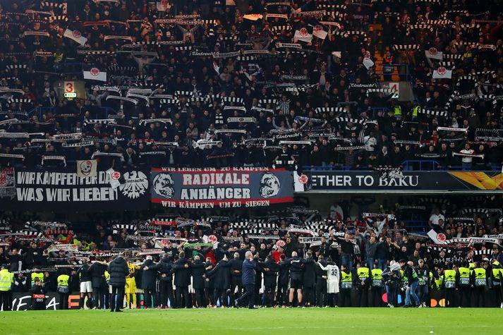 Stuðningsmenn Frankfurt á Stamford Bridge í vetur.