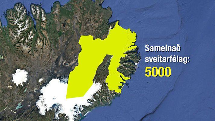 Sameinað sveitarfélag yrði langstærsta sveitarfélagið á landinu landfræðilega séð.
