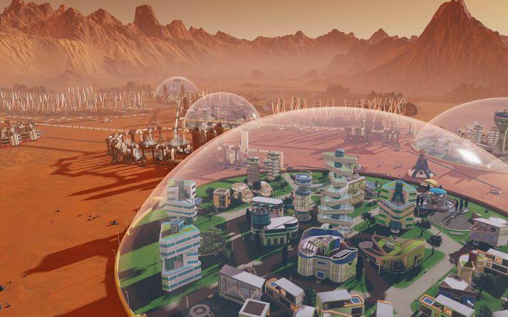Surviving Mars er framleiddur af Paradox Interactive, sömu aðilum og gera Tropico leikina og ber hann það með sér.