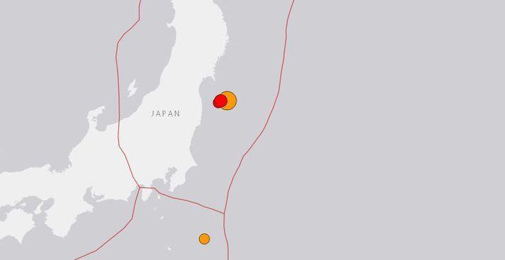 Skjálftinn varð um níutíu kílómetrum frá borginni Namie í Fukushima-héraði.