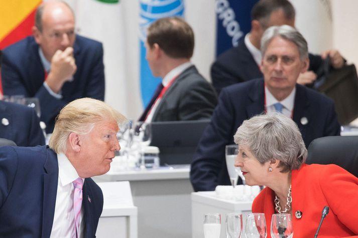 May (t.h.) og Trump (t.v.) á G20-fundinum í Japan fyrr í sumar.