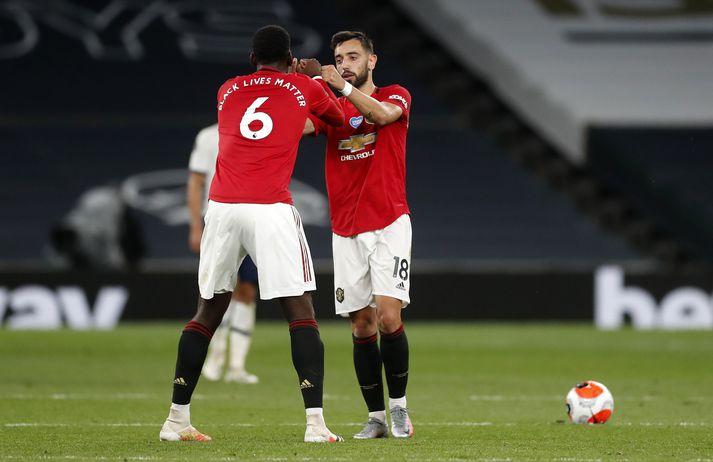 Pogba og Bruno hafa náð vel saman undanfarið á miðjunni hjá Manchester United.