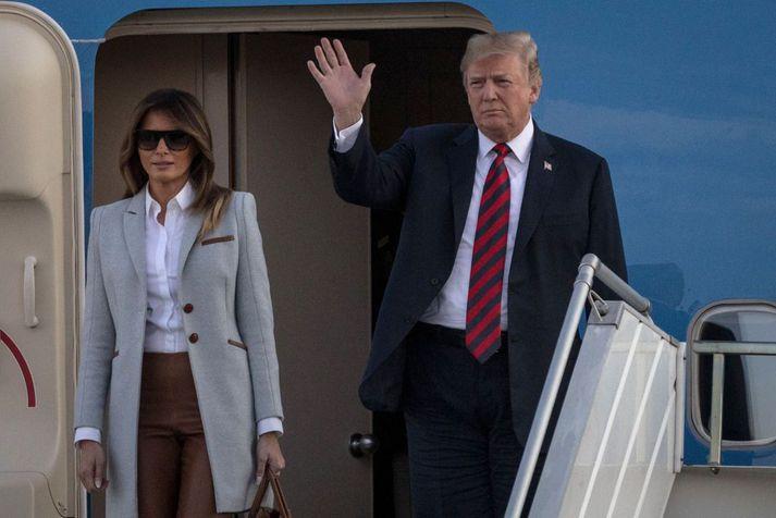Bandarísku forsetahjónin, Melania og Donald Trump.