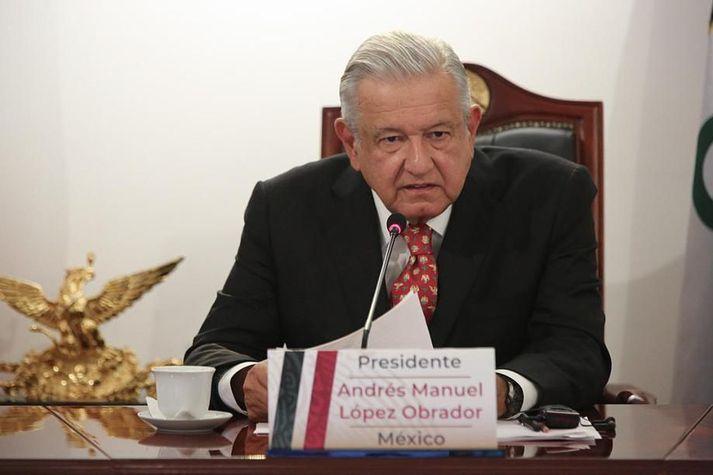 Andres Manuel Lopez Obrador forseti Mexíkó á rafrænum fundi G20 ríkjanna í dag.