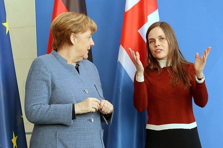 Frá fundi Katrínar og Merkel í Berlín þann 19. mars.