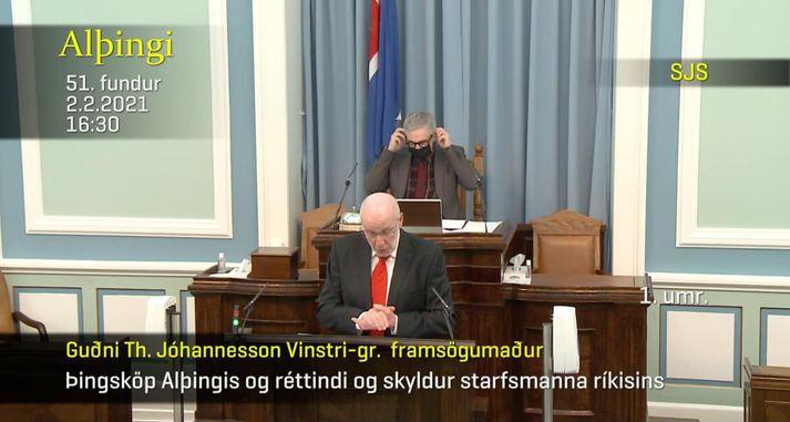 Þarna stendur vissulega Steingrímur J. Sigfússon, forseti Alþingis, en ekki Guðni Th. Jóhannesson, forseti Íslands.