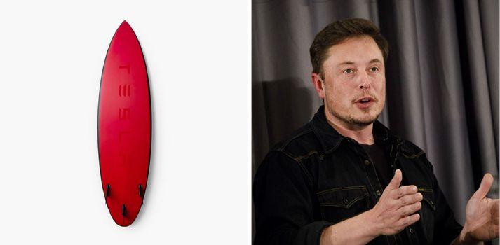 Brimbrettið í rauðum lit og Elon Musk, eigandi Tesla.
