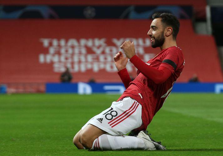 Bruno Fernandes fagnar eftir að hafa komið Manchester United yfir gegn Istanbul Basaksehir með glæsilegu marki.