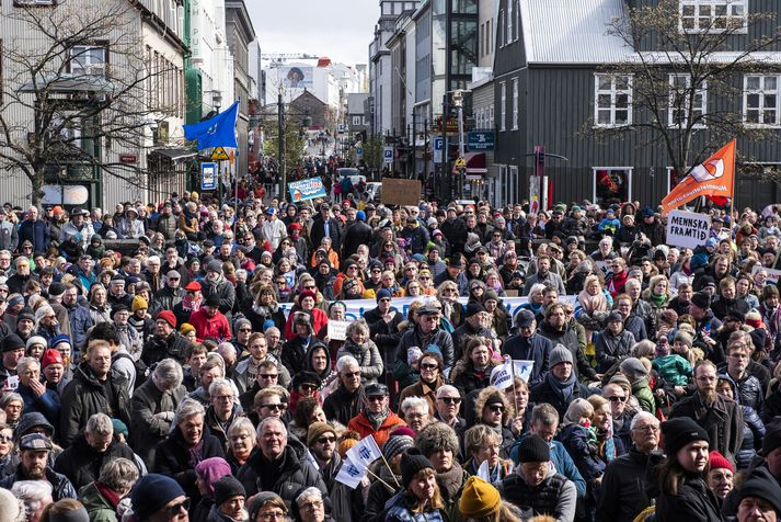 Frá kröfugöngu verkalýðs 1. maí síðastliðinn.