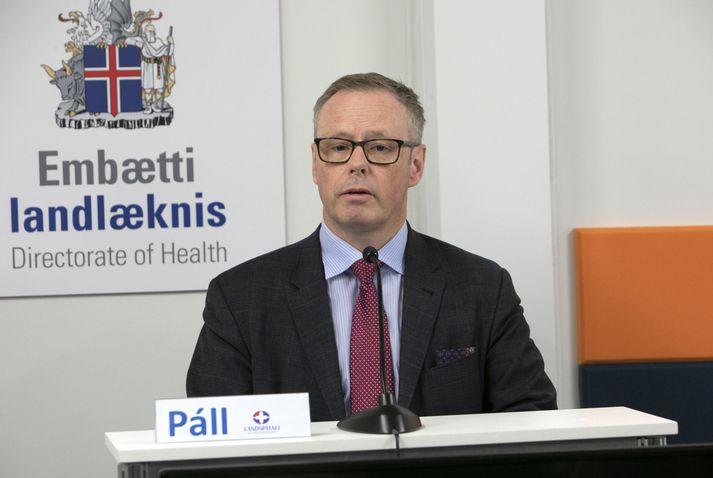 Páll Matthíasson, forstjóri Landspítalans, á upplýsingafundi almannavarna.